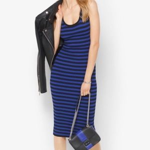 MICHAEL KORS Striped Sleeveless Midi Dress Sz L